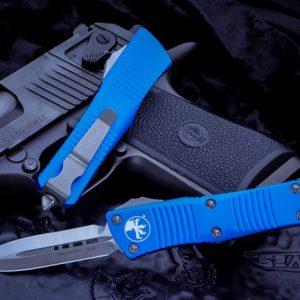 Buy Microtech Troodon Blue OTF Automatic Knife D/E 3″ Dagger Satin 138-4BL