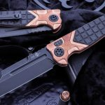 """Buy Heretic Knives """"Butcher"""" Automatic Copper/CF Scales, Battleworn Black Blade"""