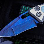 Buy Heretic Knives Custom Medusa Automatic Knife, Mother of Pearl Inlay, 3.25″ Blued Damascus Recurve