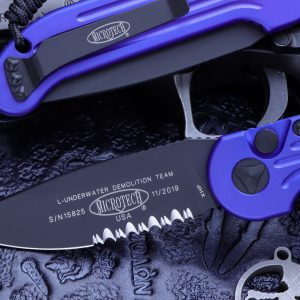 Buy Microtech LUDT Automatic Folding Knife Purple 3.4″ Black Serrated 135-2PU