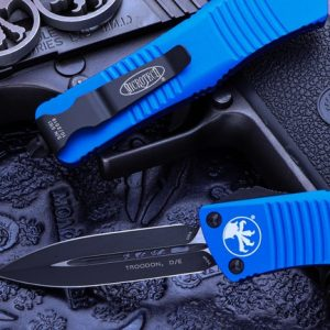 Buy Microtech Troodon Blue OTF Automatic Knife D/E 3″ Dagger Black 138-1BL